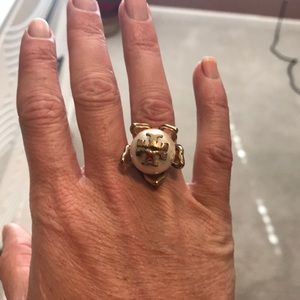 Tory Burch gold emblem pearl ring size 5